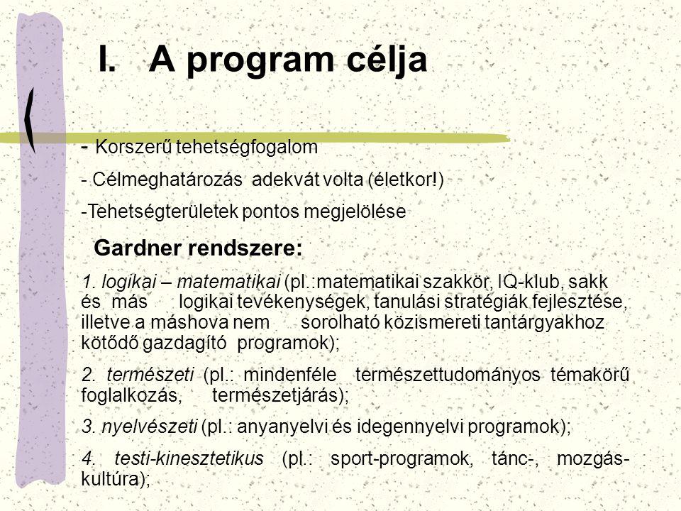 I. A program célja Korszerű tehetségfogalom Gardner rendszere: