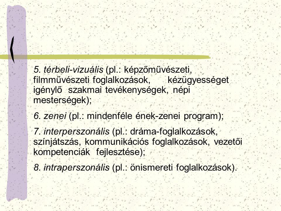 5. térbeli-vizuális (pl.: képzőművészeti, filmművészeti foglalkozások, kézügyességet igénylő szakmai tevékenységek, népi mesterségek);