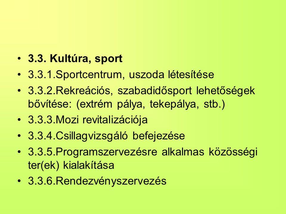 3.3. Kultúra, sport 3.3.1.Sportcentrum, uszoda létesítése. 3.3.2.Rekreációs, szabadidősport lehetőségek bővítése: (extrém pálya, tekepálya, stb.)
