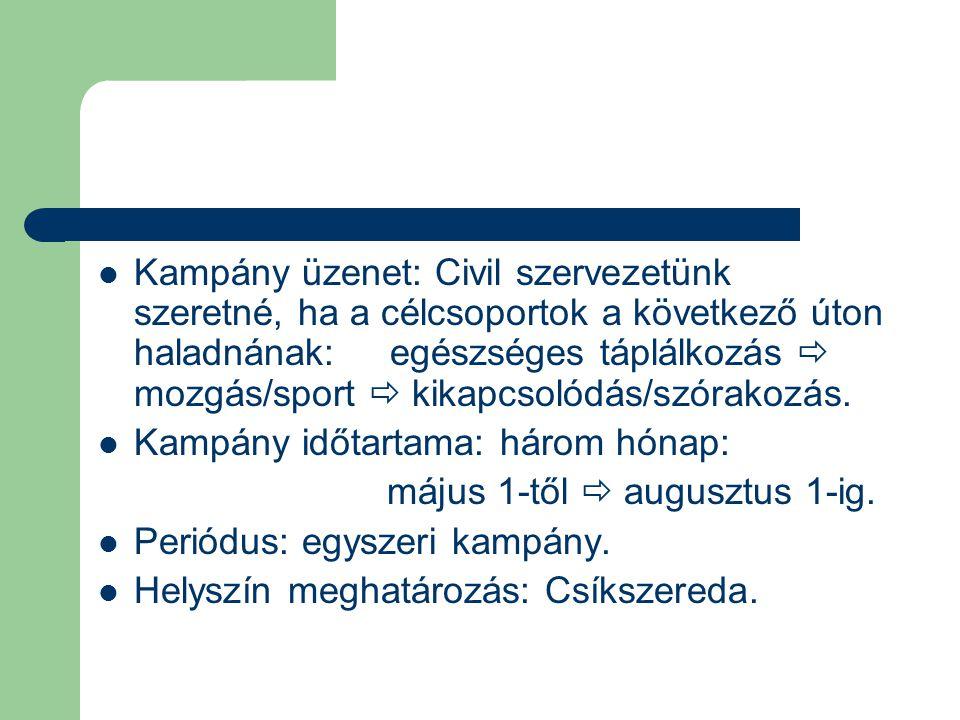 Kampány üzenet: Civil szervezetünk szeretné, ha a célcsoportok a következő úton haladnának: egészséges táplálkozás  mozgás/sport  kikapcsolódás/szórakozás.
