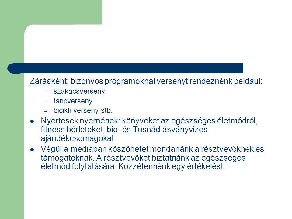 Zárásként: bizonyos programoknál versenyt rendeznénk például: