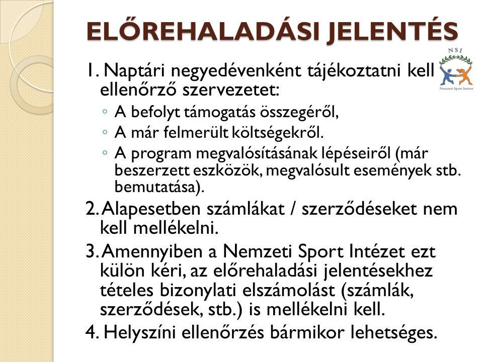 ELŐREHALADÁSI JELENTÉS