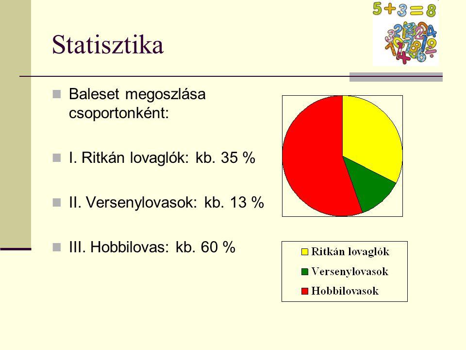 Statisztika Baleset megoszlása csoportonként:
