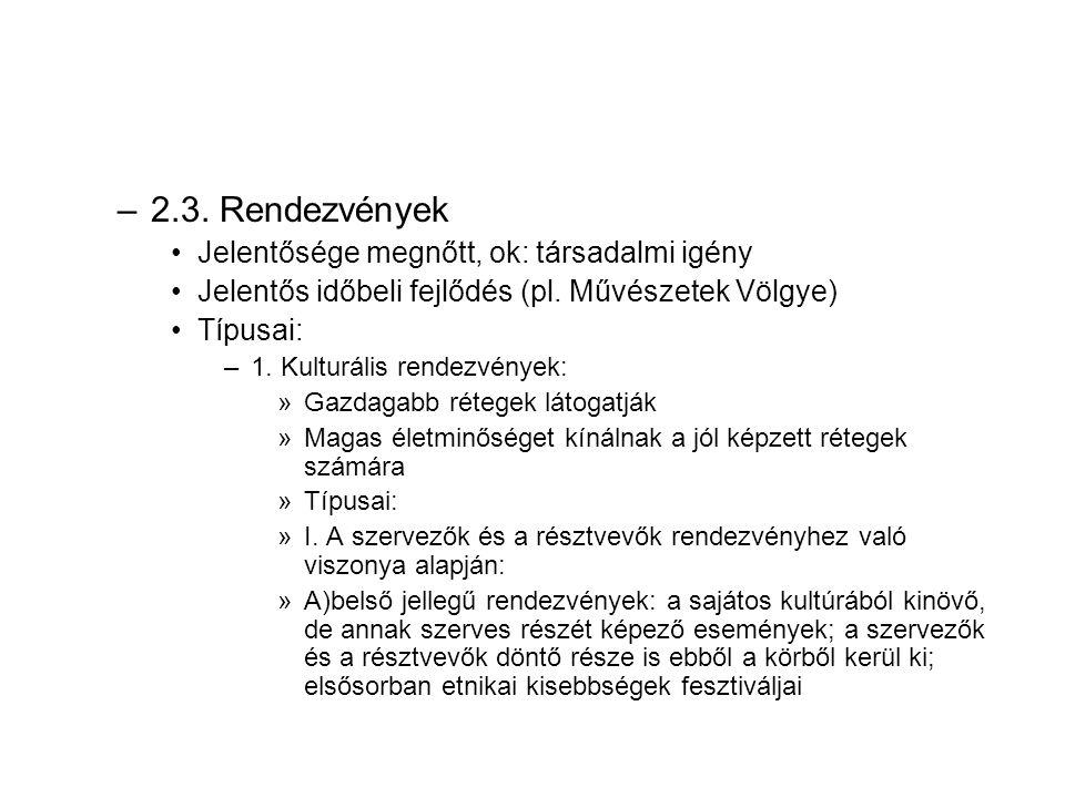 2.3. Rendezvények Jelentősége megnőtt, ok: társadalmi igény