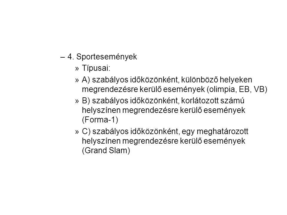 4. Sportesemények Típusai: A) szabályos időközönként, különböző helyeken megrendezésre kerülő események (olimpia, EB, VB)