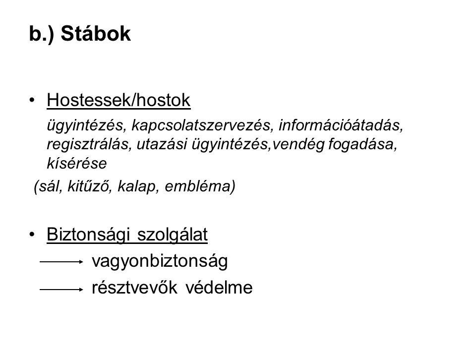 b.) Stábok Hostessek/hostok Biztonsági szolgálat vagyonbiztonság