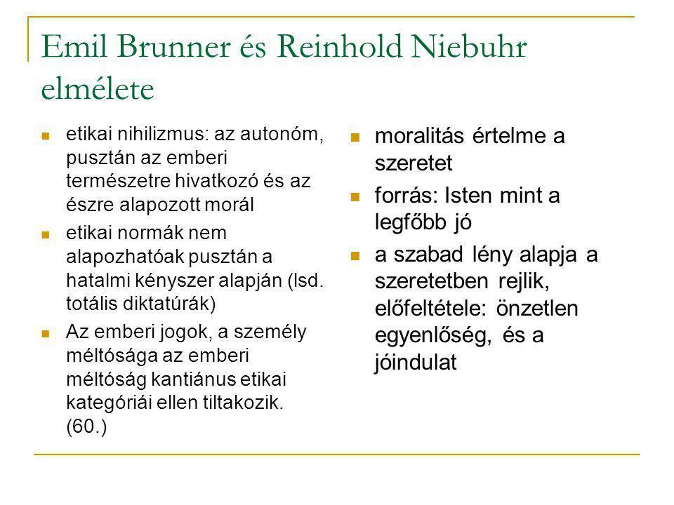 Emil Brunner és Reinhold Niebuhr elmélete