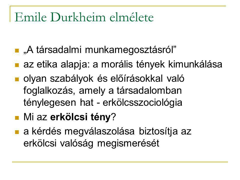 Emile Durkheim elmélete
