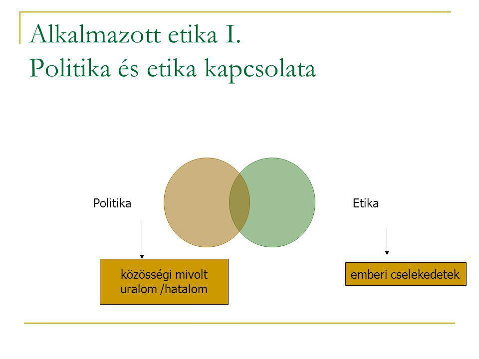 Alkalmazott etika I. Politika és etika kapcsolata