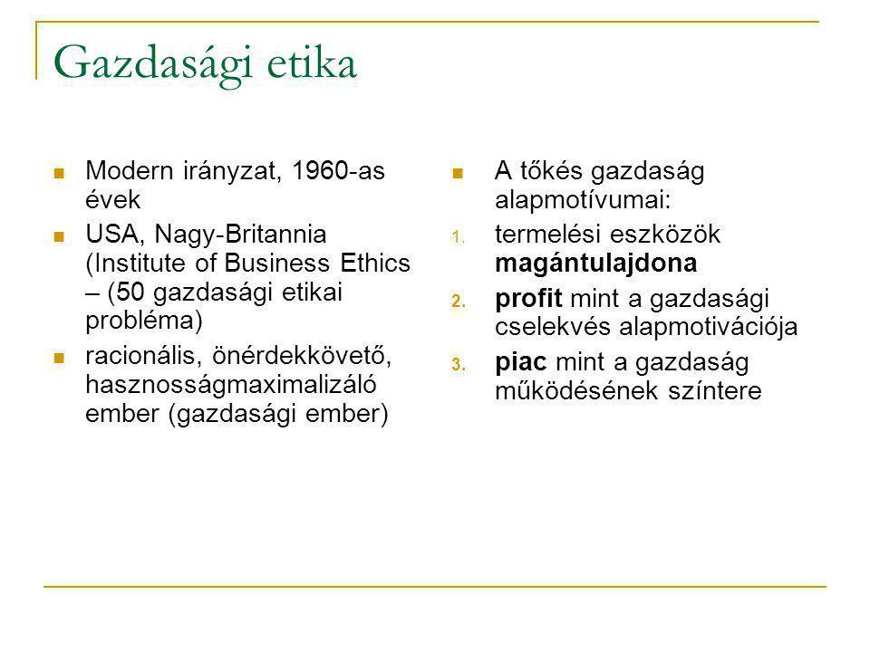 Gazdasági etika Modern irányzat, 1960-as évek