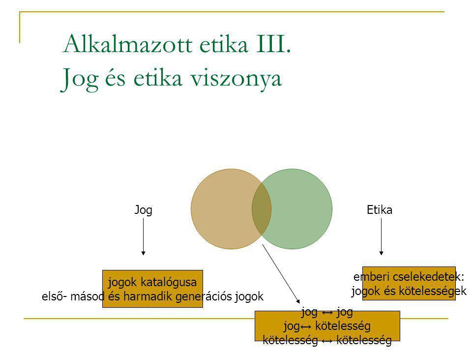 Alkalmazott etika III. Jog és etika viszonya
