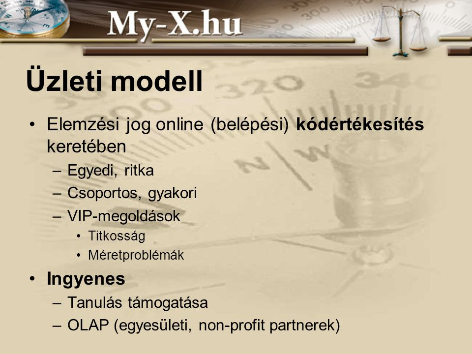 Üzleti modell Elemzési jog online (belépési) kódértékesítés keretében