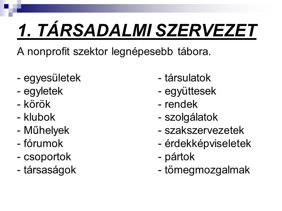 1. TÁRSADALMI SZERVEZET A nonprofit szektor legnépesebb tábora.