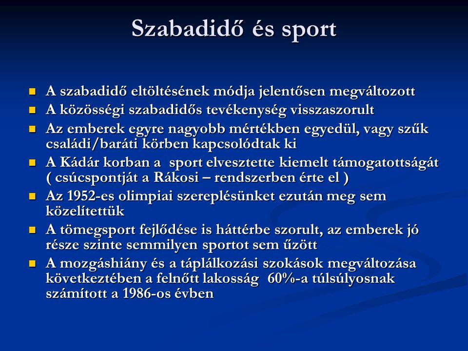 Szabadidő és sport A szabadidő eltöltésének módja jelentősen megváltozott. A közösségi szabadidős tevékenység visszaszorult.