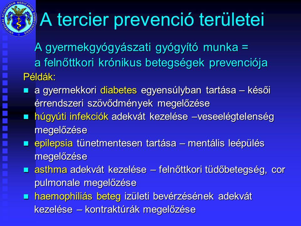 A tercier prevenció területei