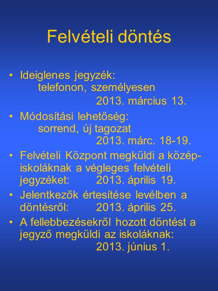 Felvételi döntés Ideiglenes jegyzék: telefonon, személyesen 2013. március 13.