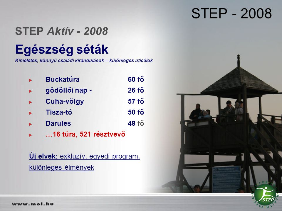 STEP - 2008 Egészség séták STEP Aktív - 2008 Buckatúra 60 fő