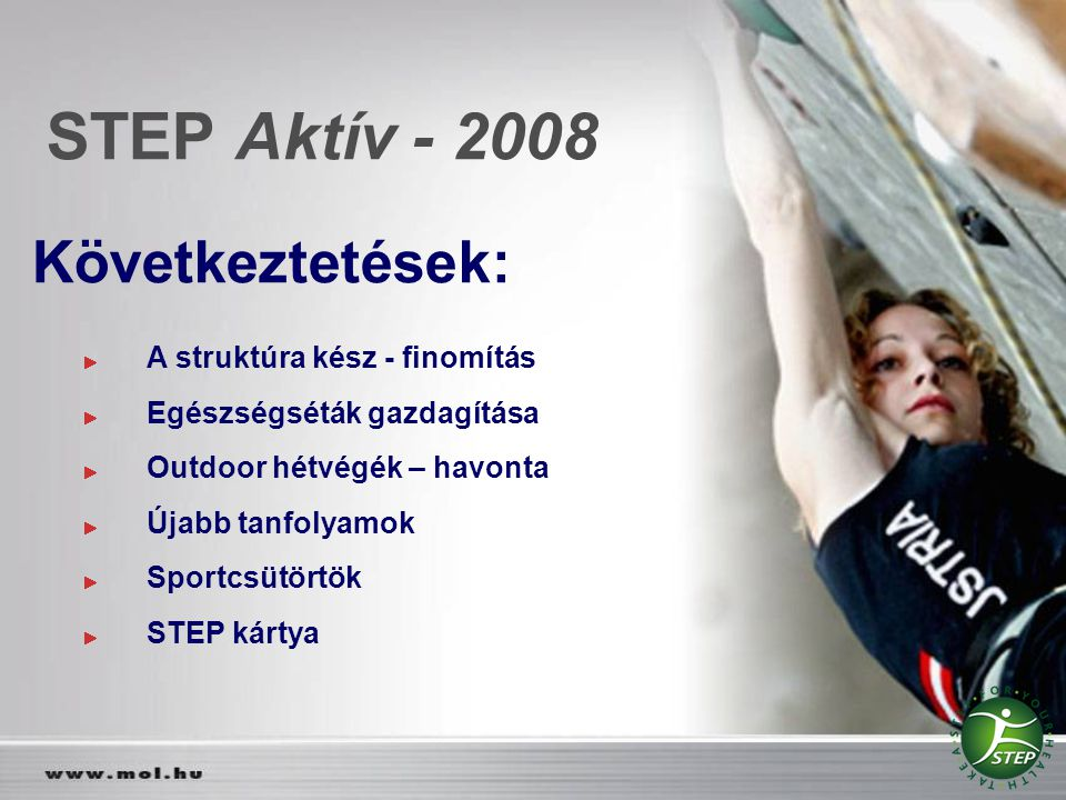 STEP Aktív - 2008 Következtetések: A struktúra kész - finomítás