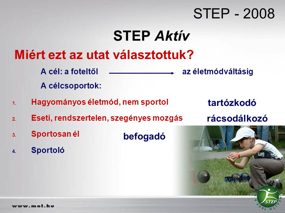 STEP - 2008 STEP Aktív tartózkodó rácsodálkozó befogadó