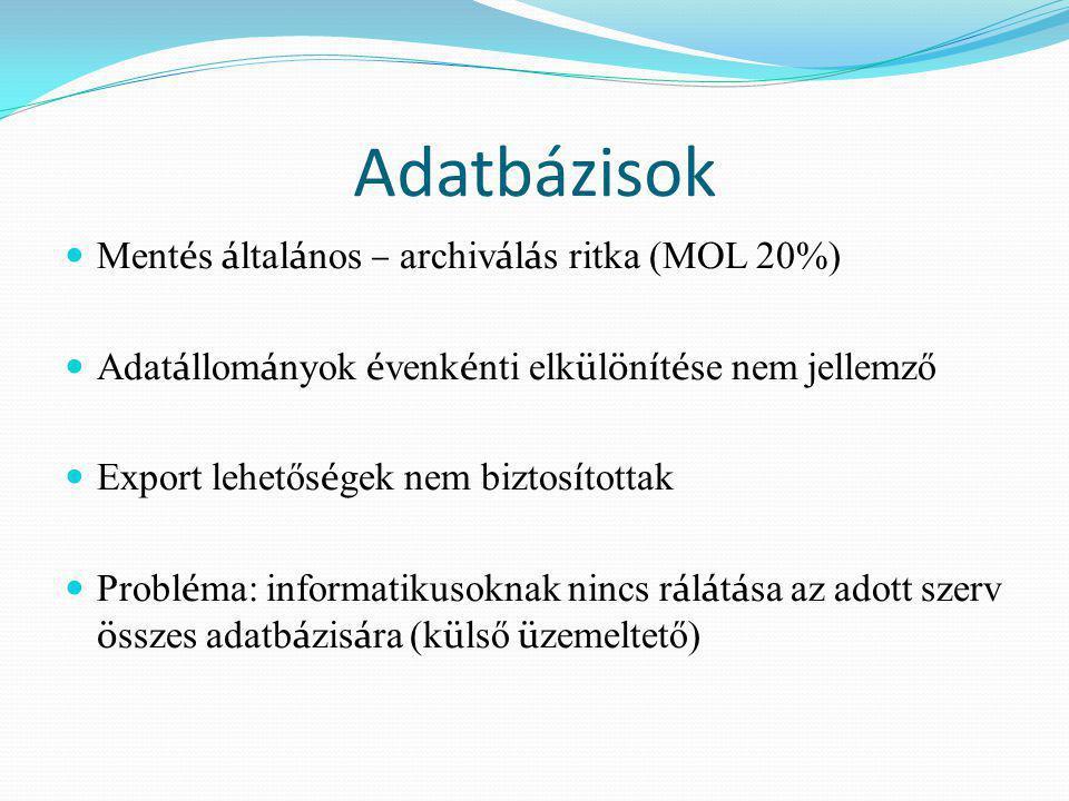 Adatbázisok Mentés általános – archiválás ritka (MOL 20%)