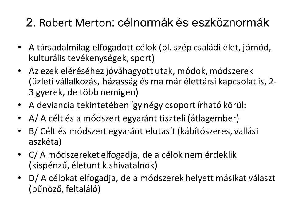 2. Robert Merton: célnormák és eszköznormák