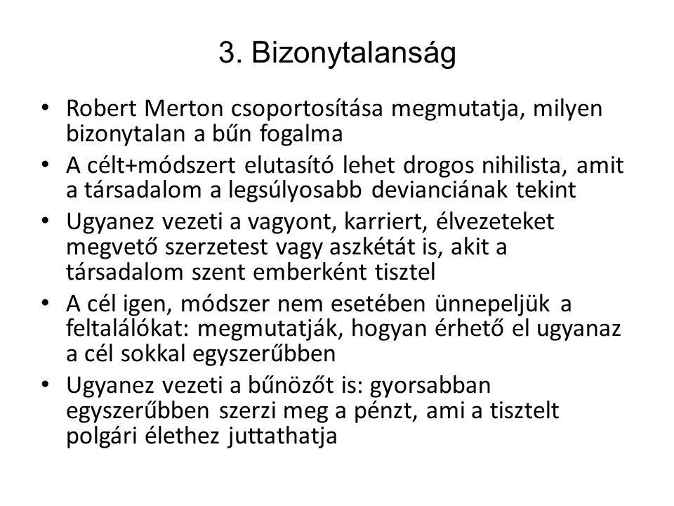 3. Bizonytalanság Robert Merton csoportosítása megmutatja, milyen bizonytalan a bűn fogalma.