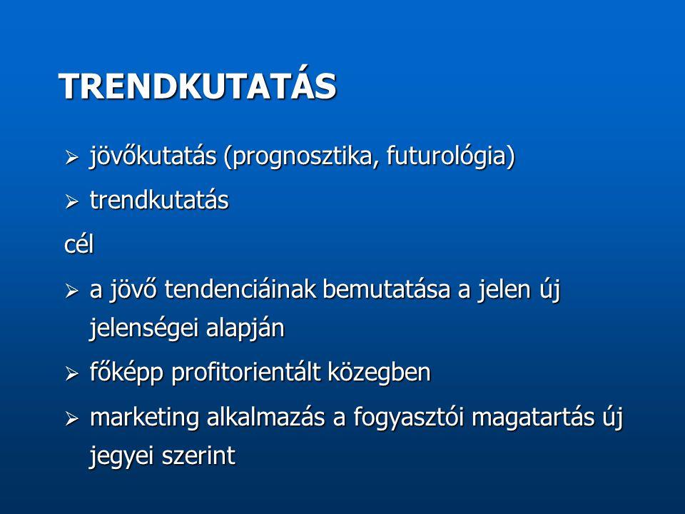 TRENDKUTATÁS jövőkutatás (prognosztika, futurológia) trendkutatás cél
