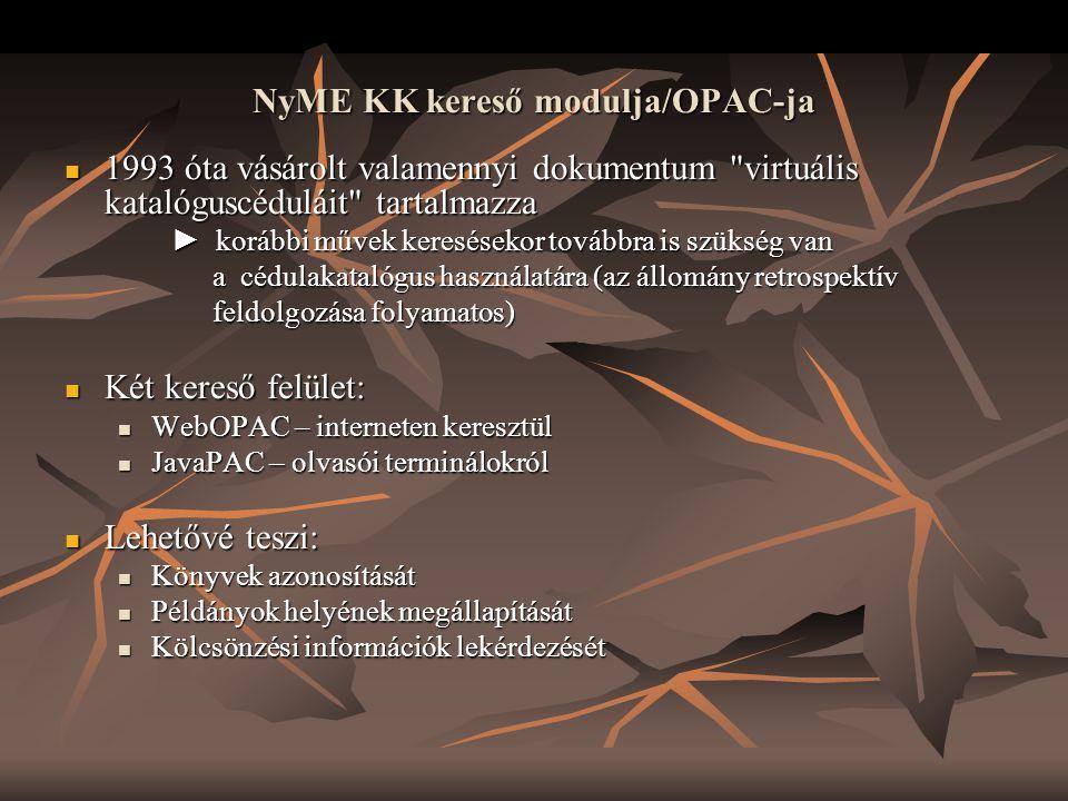 NyME KK kereső modulja/OPAC-ja