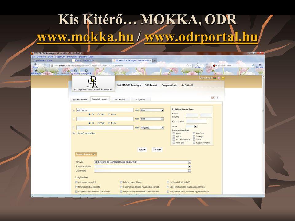 Kis Kitérő… MOKKA, ODR www.mokka.hu / www.odrportal.hu