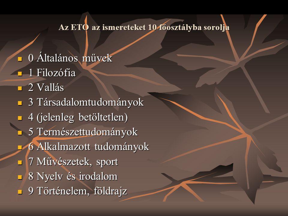 Az ETO az ismereteket 10 főosztályba sorolja