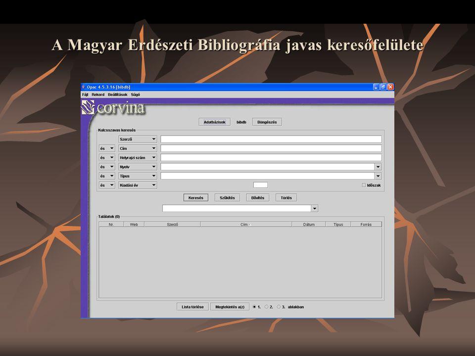 A Magyar Erdészeti Bibliográfia javas keresőfelülete