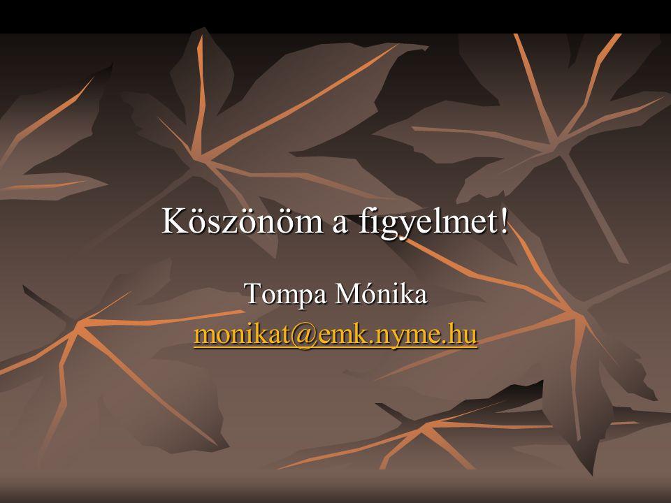Köszönöm a figyelmet! Tompa Mónika monikat@emk.nyme.hu