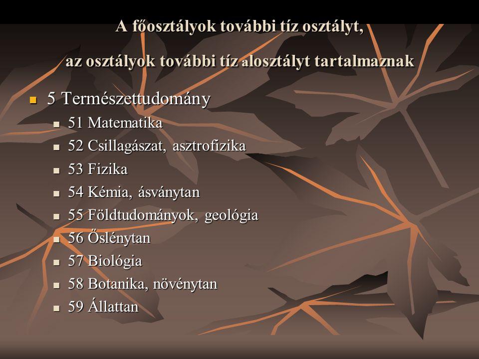 A főosztályok további tíz osztályt, az osztályok további tíz alosztályt tartalmaznak