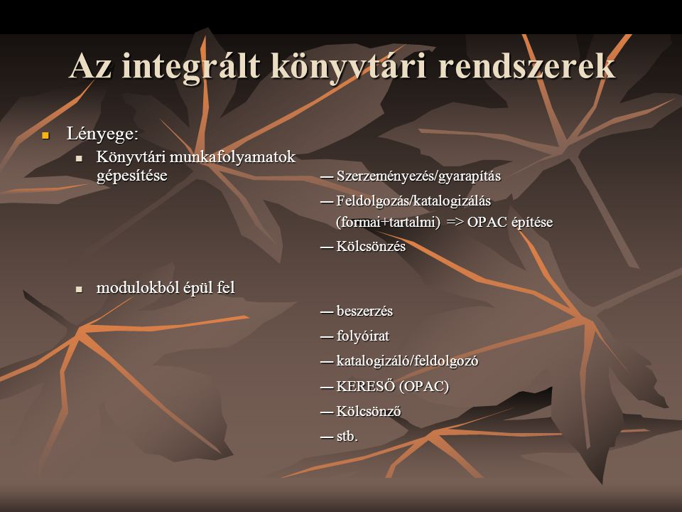 Az integrált könyvtári rendszerek