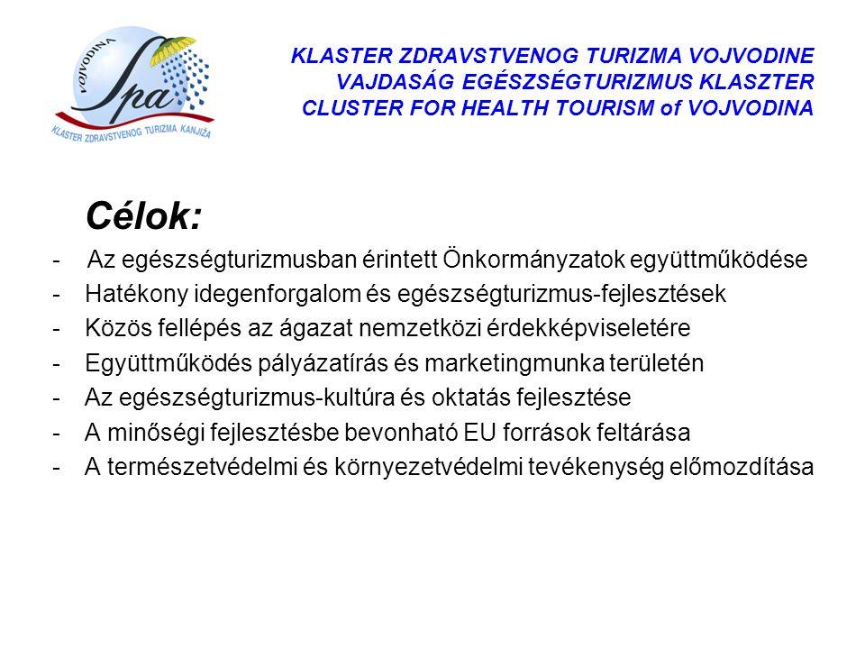 Célok: - Az egészségturizmusban érintett Önkormányzatok együttműködése