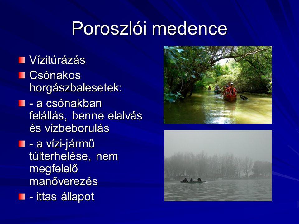Poroszlói medence Vízitúrázás Csónakos horgászbalesetek:
