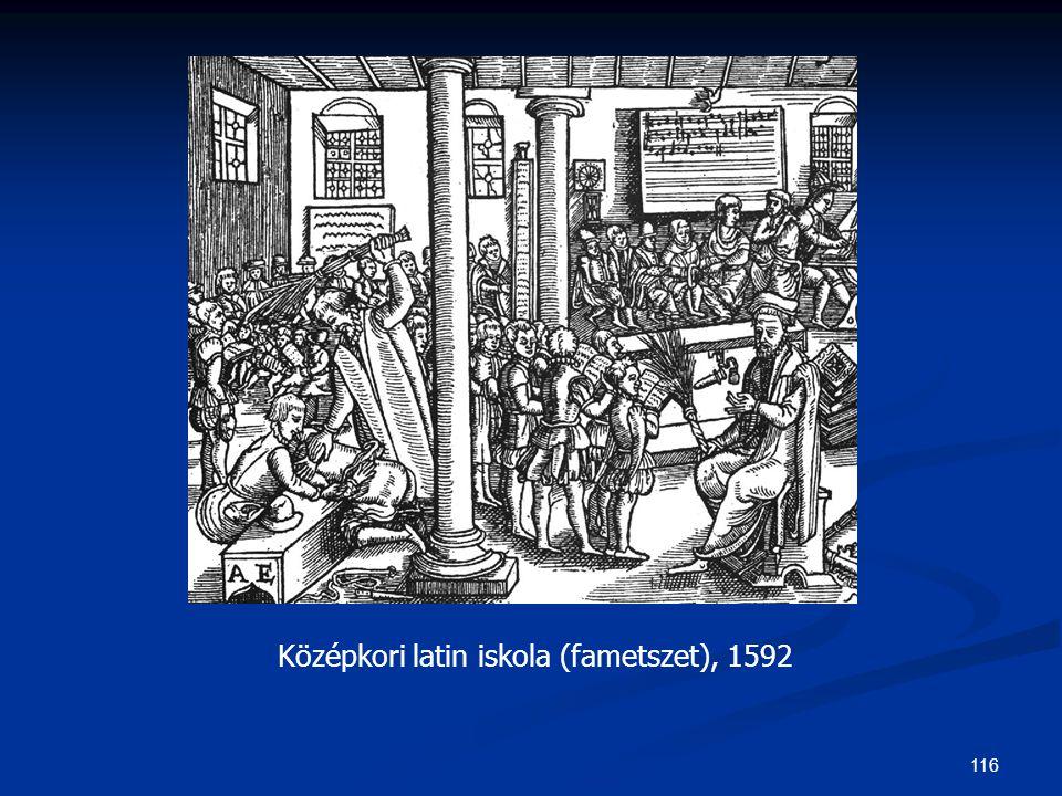 Középkori latin iskola (fametszet), 1592