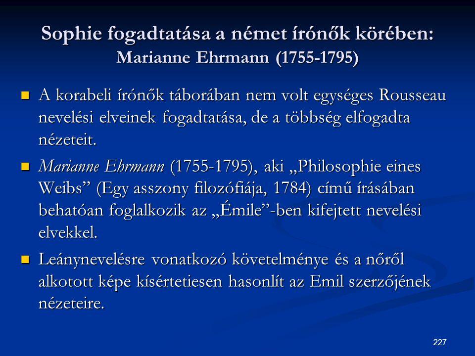 Sophie fogadtatása a német írónők körében: Marianne Ehrmann (1755-1795)