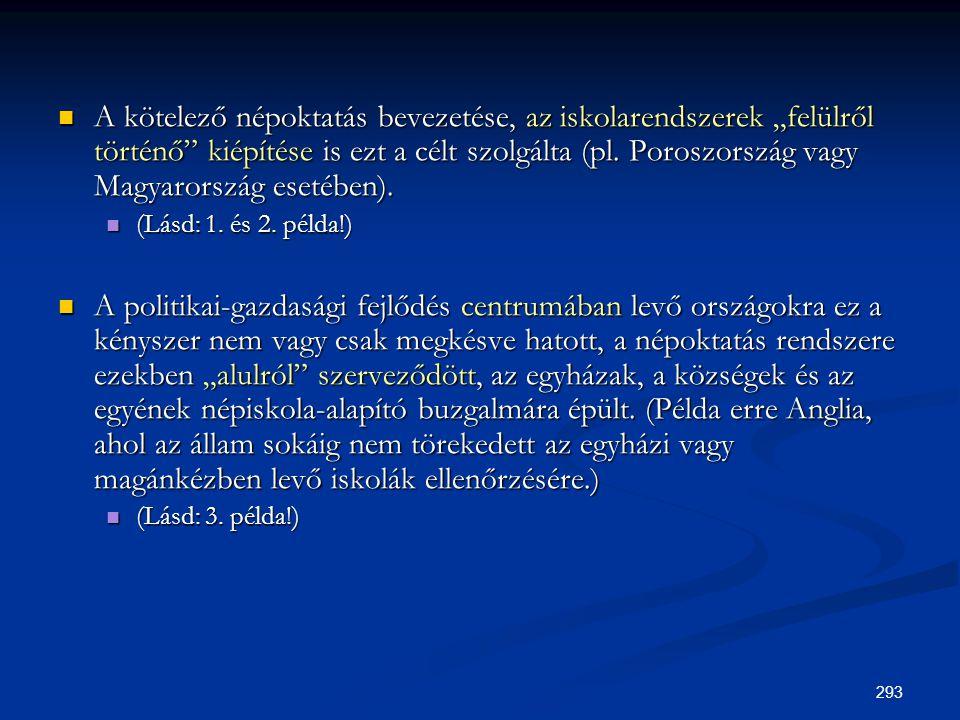 """A kötelező népoktatás bevezetése, az iskolarendszerek """"felülről történő kiépítése is ezt a célt szolgálta (pl. Poroszország vagy Magyarország esetében)."""