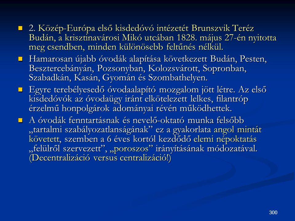 2. Közép-Európa első kisdedóvó intézetét Brunszvik Teréz Budán, a krisztinavárosi Mikó utcában 1828. május 27-én nyitotta meg csendben, minden különösebb feltűnés nélkül.