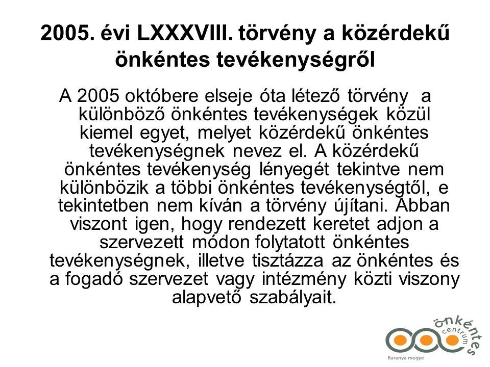 2005. évi LXXXVIII. törvény a közérdekű önkéntes tevékenységről