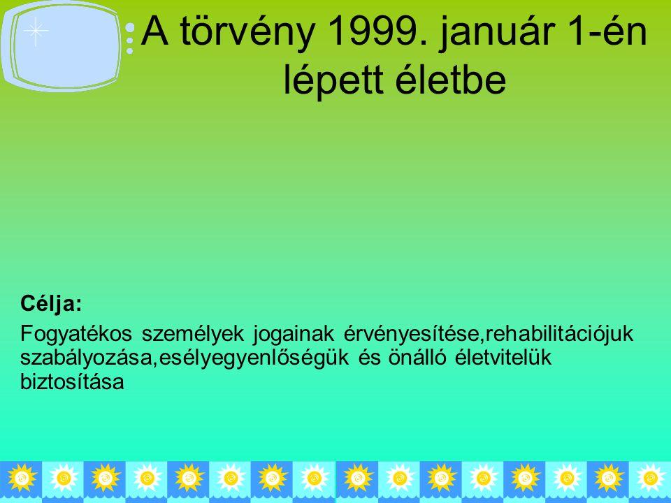 A törvény 1999. január 1-én lépett életbe