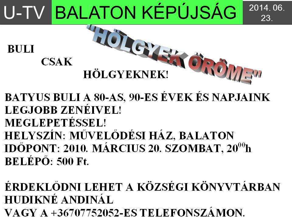 U-TV BALATON KÉPÚJSÁG 2017.04.03. 3:04:142017.04.03. 3:04:14
