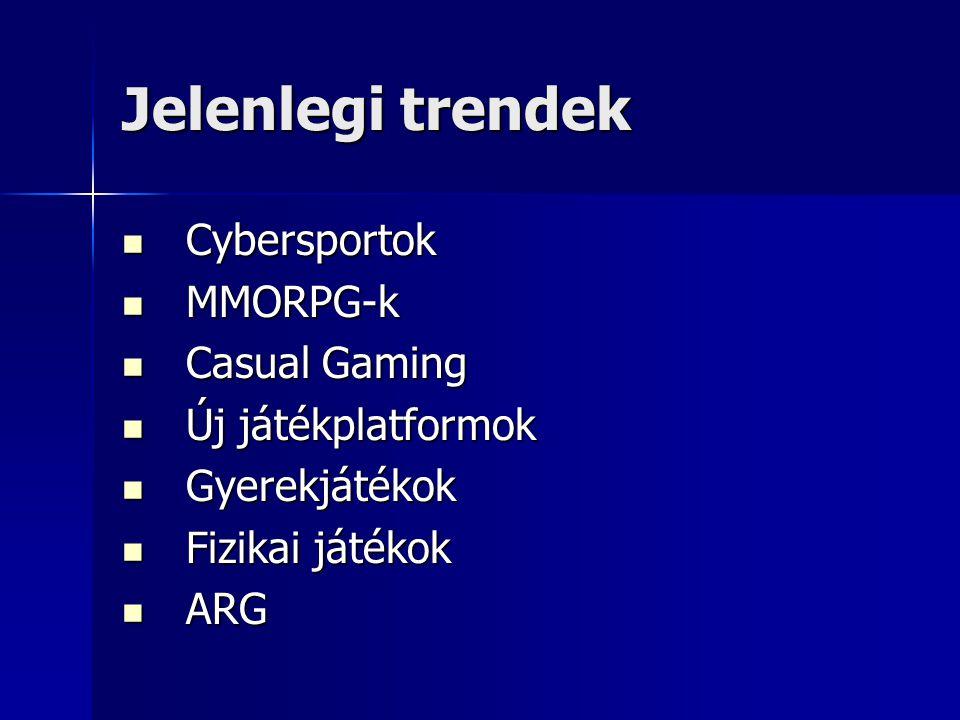 Jelenlegi trendek Cybersportok MMORPG-k Casual Gaming