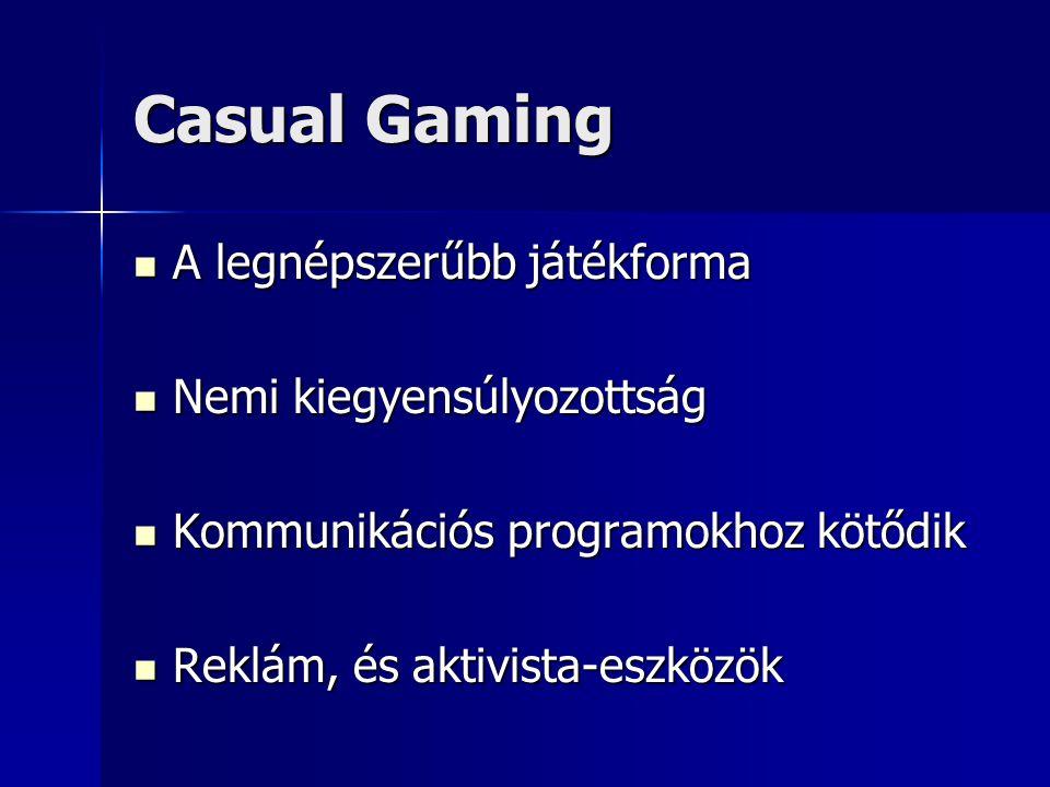 Casual Gaming A legnépszerűbb játékforma Nemi kiegyensúlyozottság