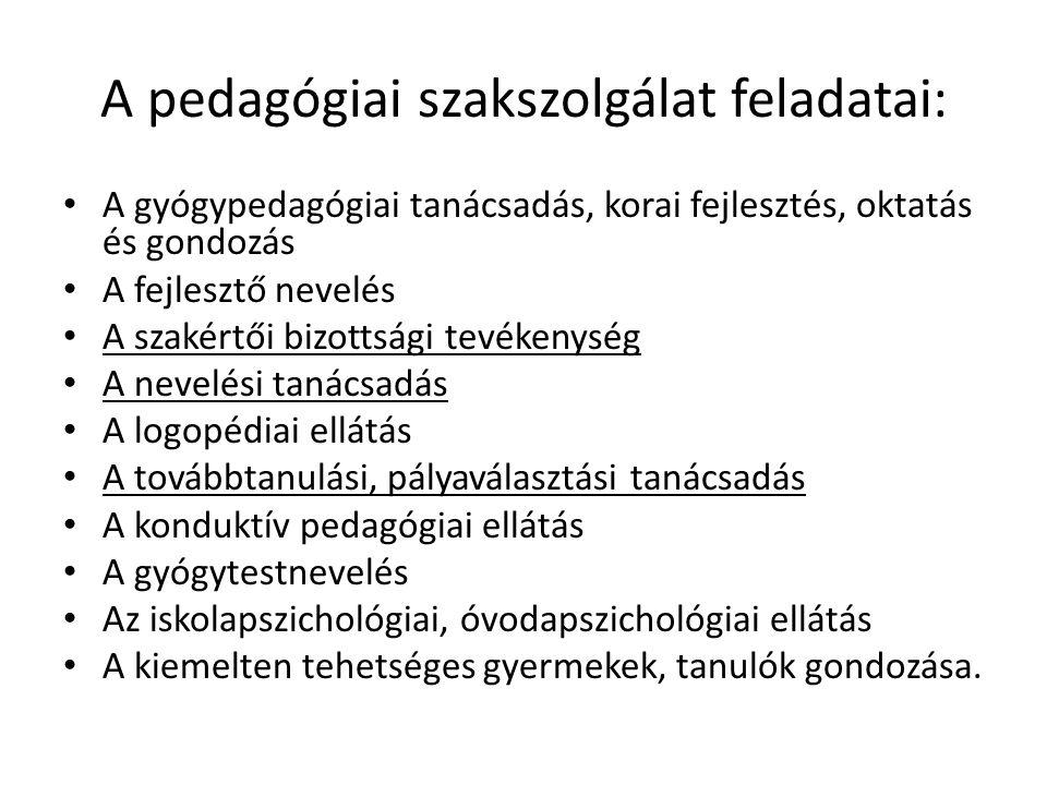 A pedagógiai szakszolgálat feladatai: