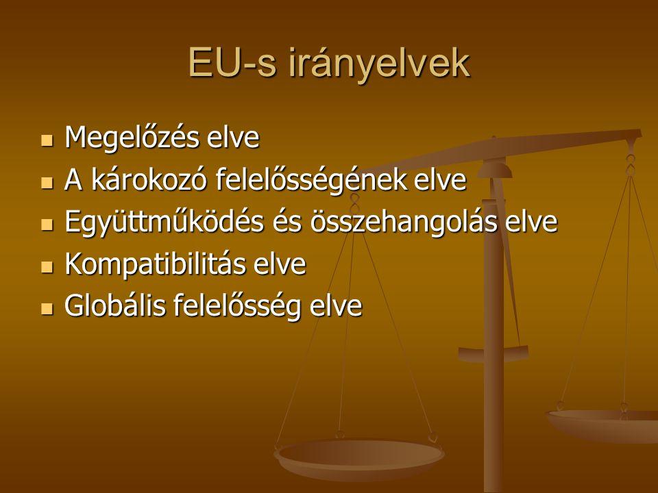 EU-s irányelvek Megelőzés elve A károkozó felelősségének elve