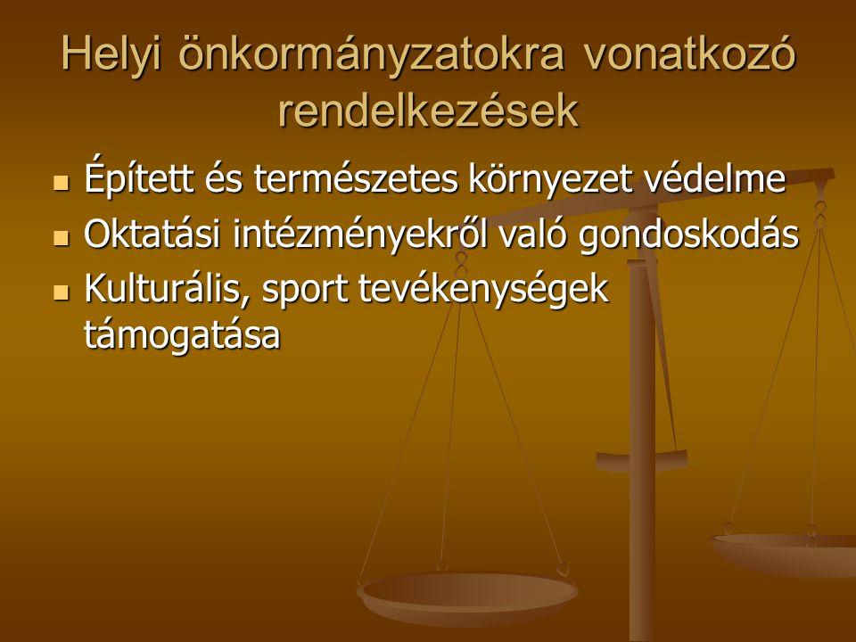 Helyi önkormányzatokra vonatkozó rendelkezések