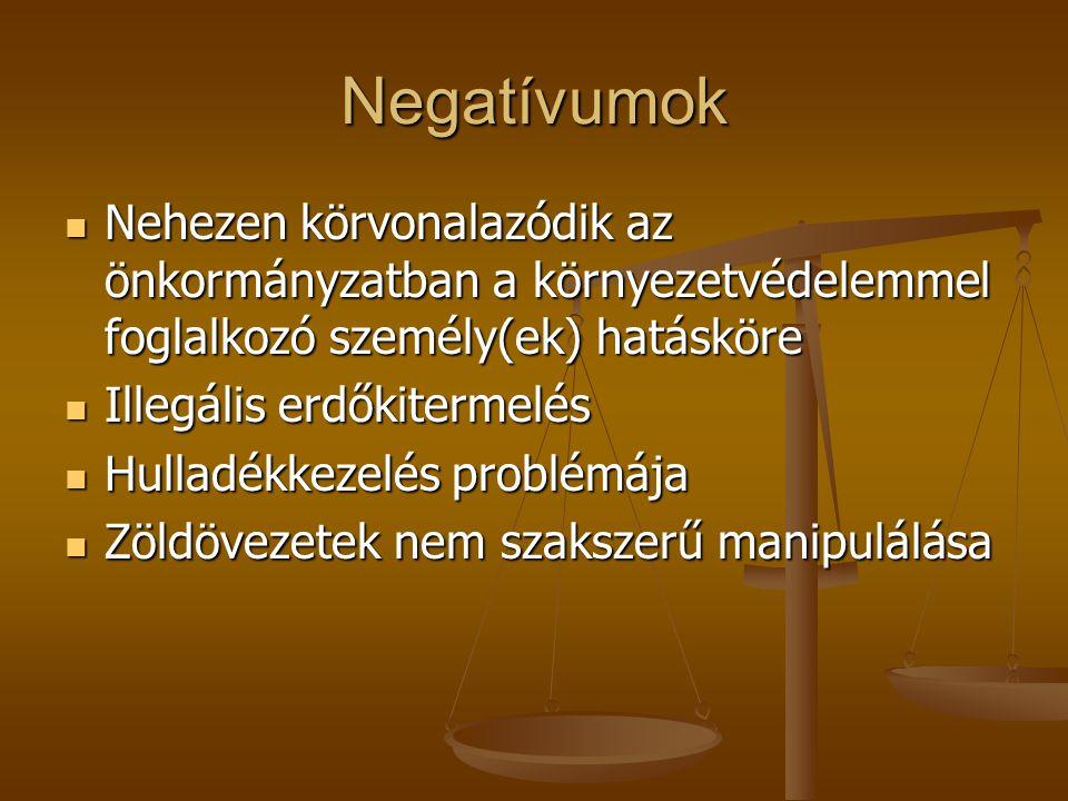 Negatívumok Nehezen körvonalazódik az önkormányzatban a környezetvédelemmel foglalkozó személy(ek) hatásköre.