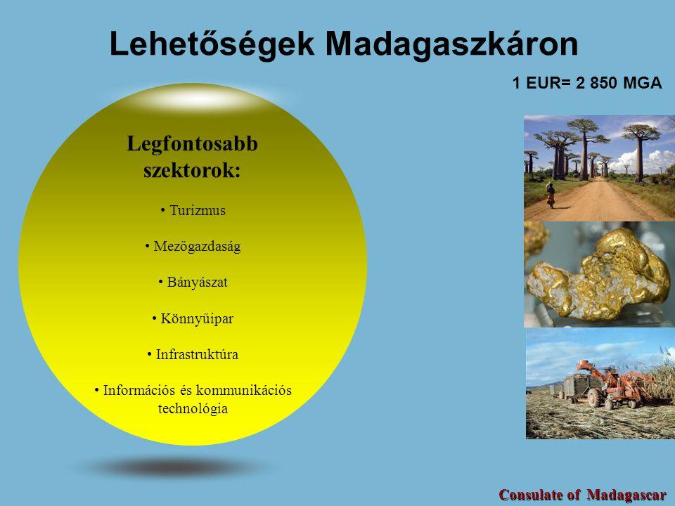 Lehetőségek Madagaszkáron Legfontosabb szektorok: